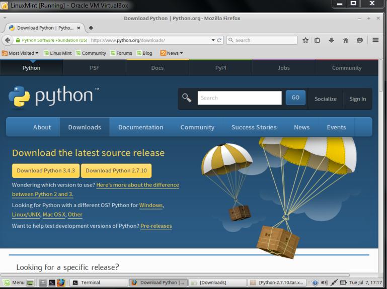 linux download python