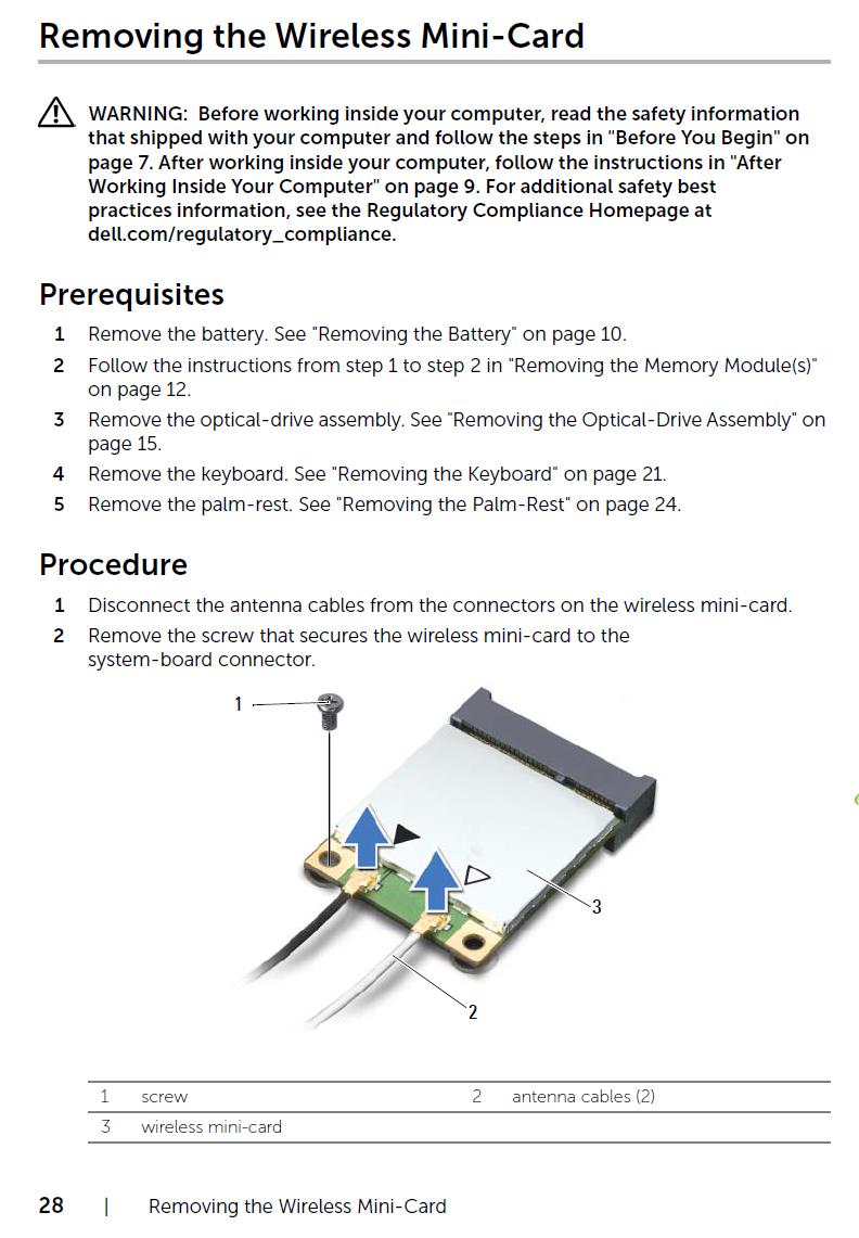 Replacing Wi-Fi card on Inspiron 15R