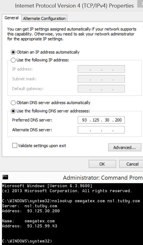 Windows DNS settings