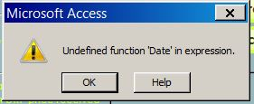 Undefined function 'date' in expression