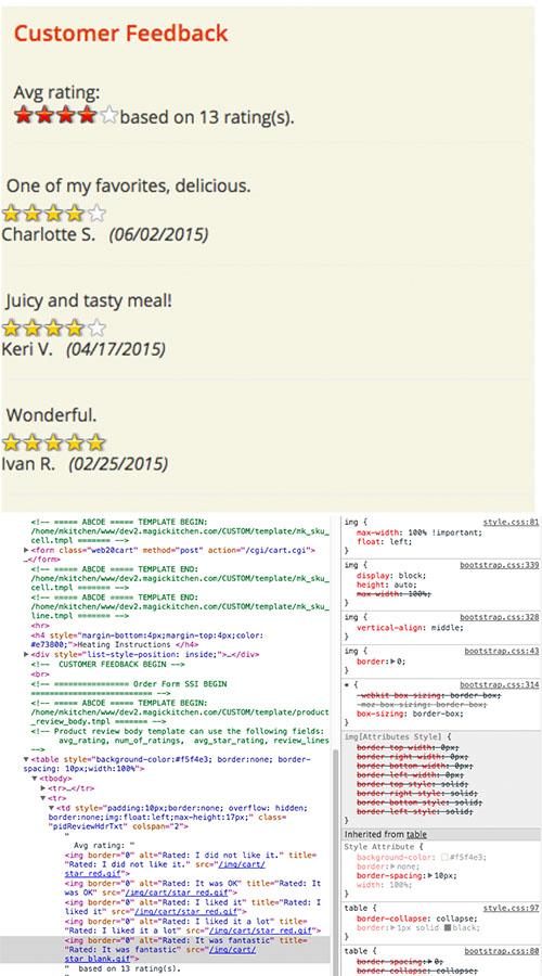 results with developer tools screenshot below