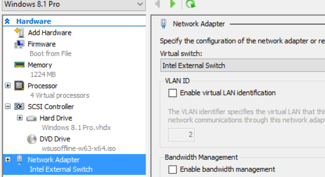 VM Network setting