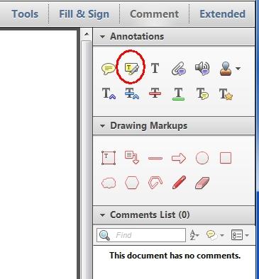 Adobe Reader XI Highlight Text tool
