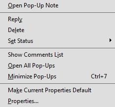 Annotation context menu