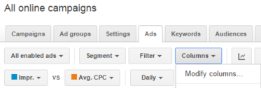 adwords modify columns