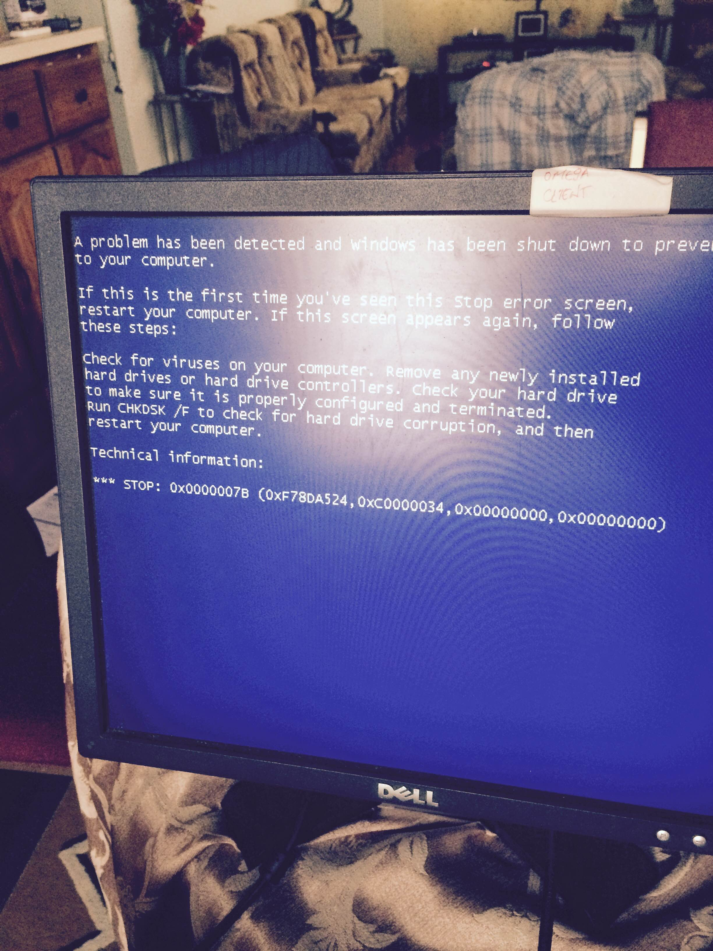 trying to install windows xp but only getting blue screen