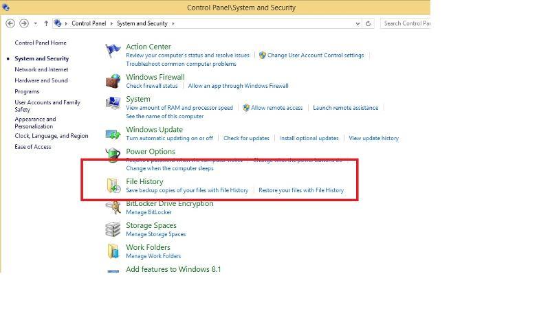 Windows 8.1 files history