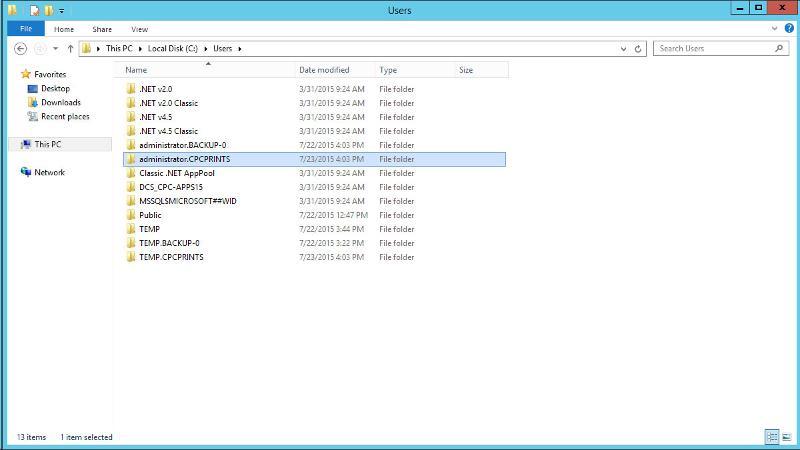 """Users"" folder screenshot"