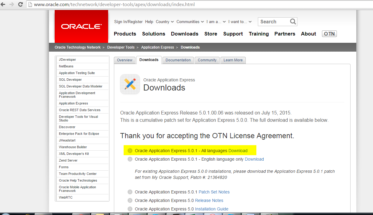Upgrading Oracle APEX to Oracle Application Express Release 5 0 1