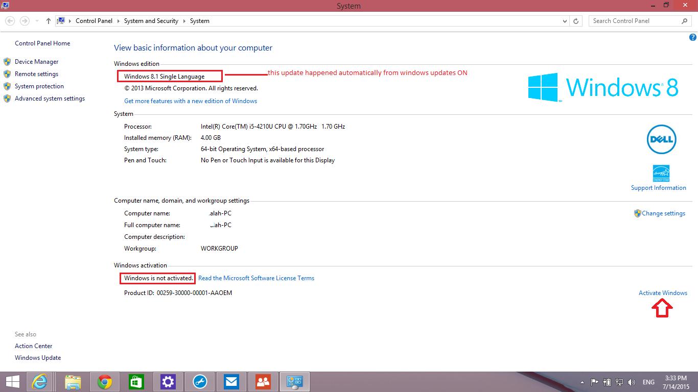 Activate Windows 8 1 - Dell Inspiron 15 3000 Series