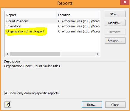 org chart report dialog box