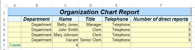 org chart report in Excel