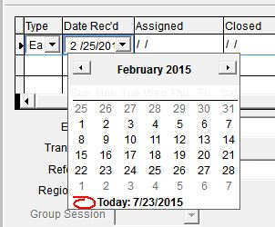 Cell with Date Picker control in focus