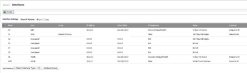SonicWall NSA Network Interface Settings