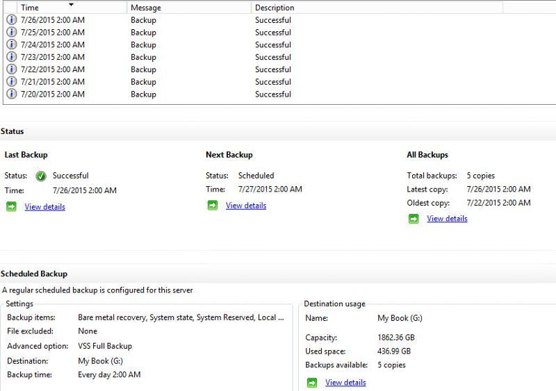 Windows Server Backup Screenshot
