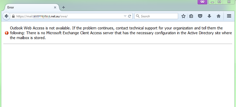 Error message from OWA for people on SA server.