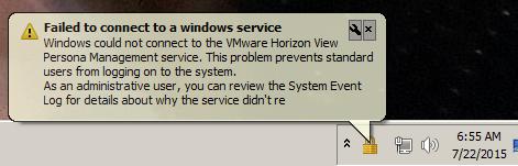 VMware Horizon View Persona Management service Error