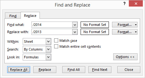 Find and Replace dialog