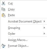 context menu first page