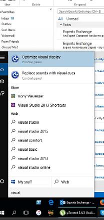 search for visual studio