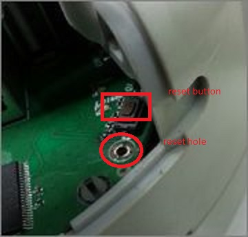 Reset hole and button,