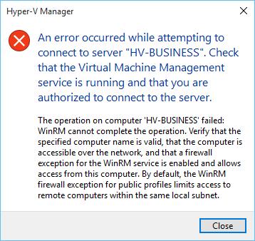 Hyper-V Manager Error