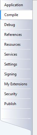 On the Compile tab of the project properties, click the 'Build Events...' button