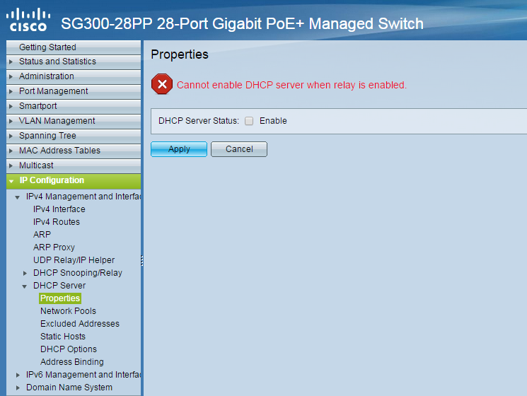 Cisco SG300-28 (L3) DHCP Relay and DHCP Server running?