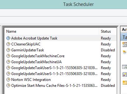 List of Tasks in Task Scheduler