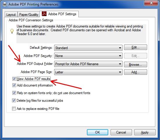 Adobe PDF Printing Preferences