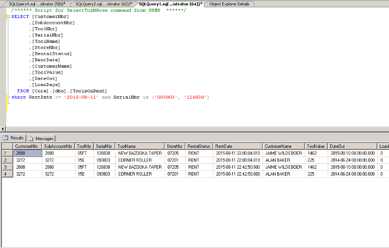 SQL Table that shows example of duplicated rows