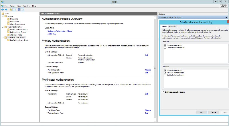 AD FS Primary Authenication - Edit Global Authentication Policy