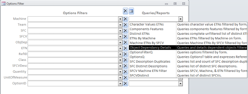 Users select desired query or report from drop down lists.