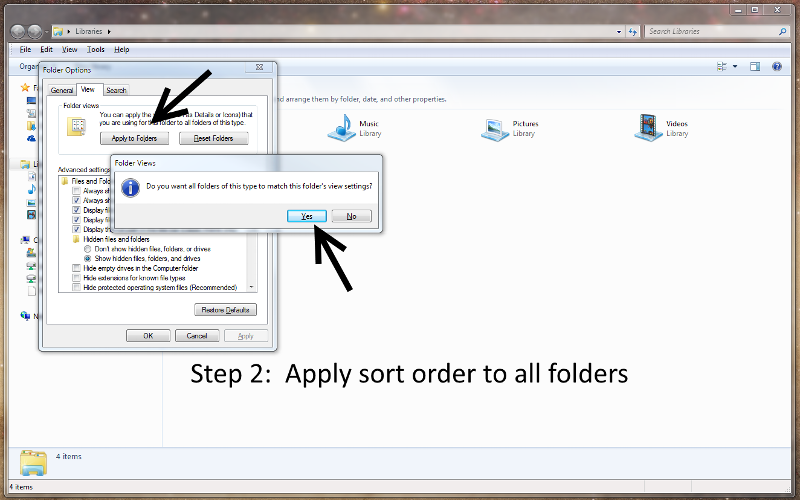 Step 2:  Apply to all folders