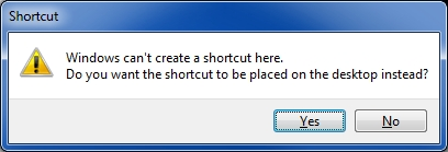 cannot place shortcut on desktop