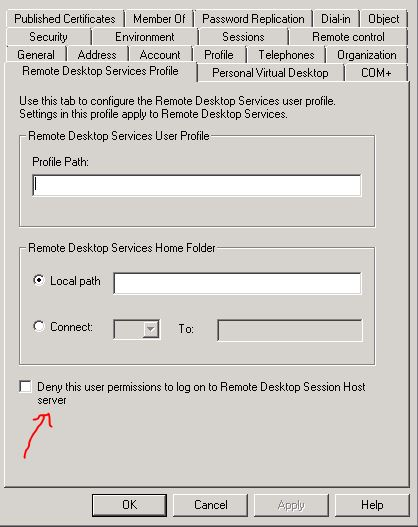 """Deny this user permission to log on to Remote Desktop Session Host server"""