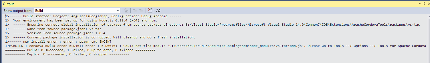 Unable to build Apache Cordova Project in Visual Studio 2015