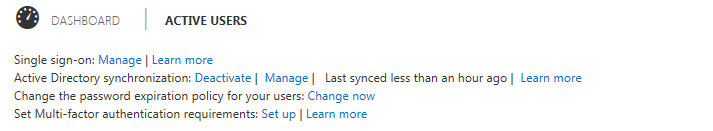 office 365 portal - showing Active Directory Synchronisation