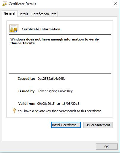 Token Signing Public Key Certificate