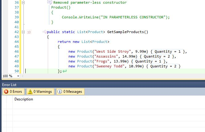 Changing the GetSampleProducts() method to use the contructor with parameters.
