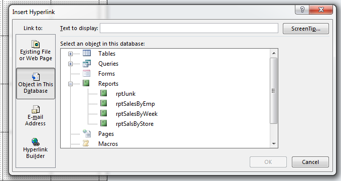 Hyperlink to an Access Object