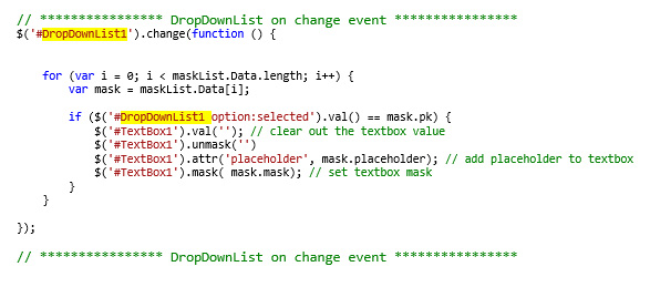 my new code for the dropdownlist on change event