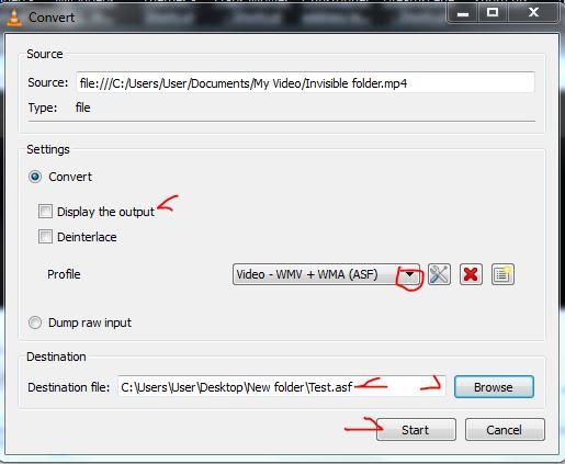 VLC profile output
