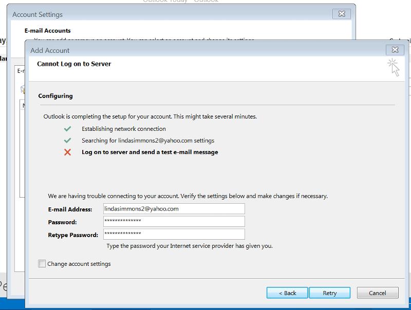Outlook Yahoo Error Message