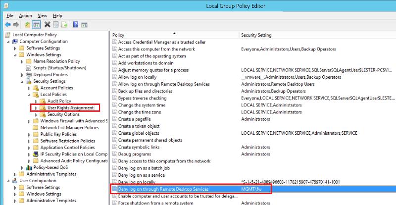 Deny Log on through Remote Desktop Services