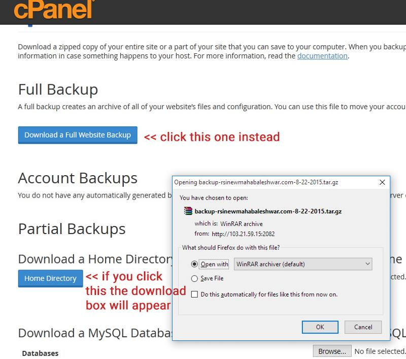 click backup button to open this page
