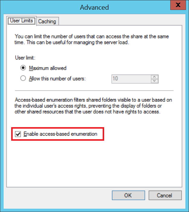 Enable Access Based Enumeration