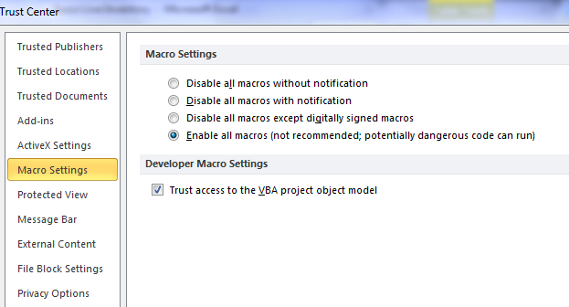 macro settings