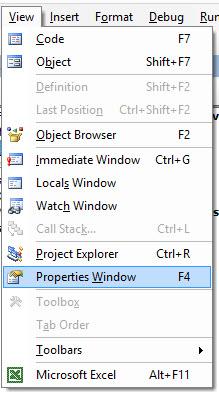 View / Properties Windows [F4]