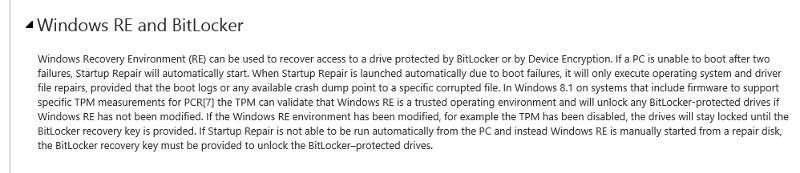 Windows RE and Bitlocker.